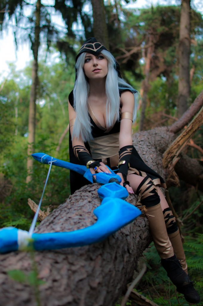 Lol the frost archer ashe costume dress outfit adult women's sexy halloween cosplay costume